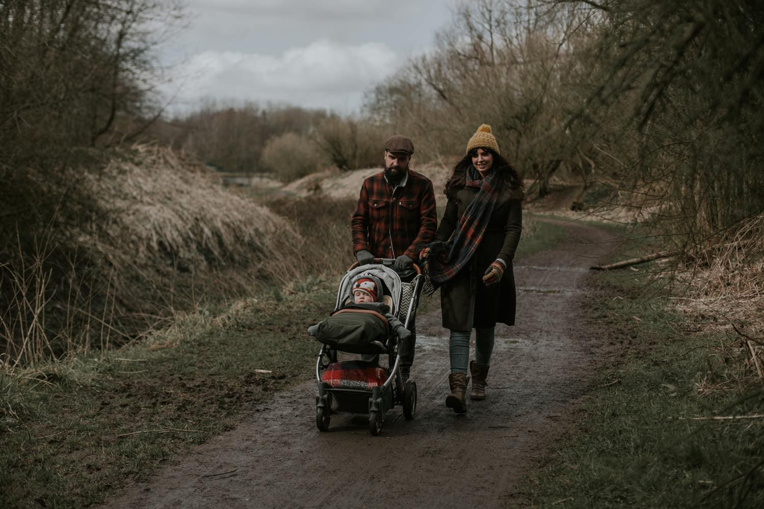 Family walking in the countryside in Manchester