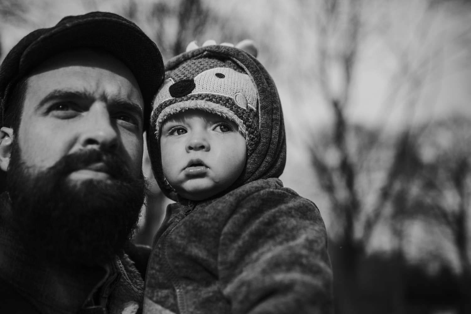 Son and dad portrait in Manchester