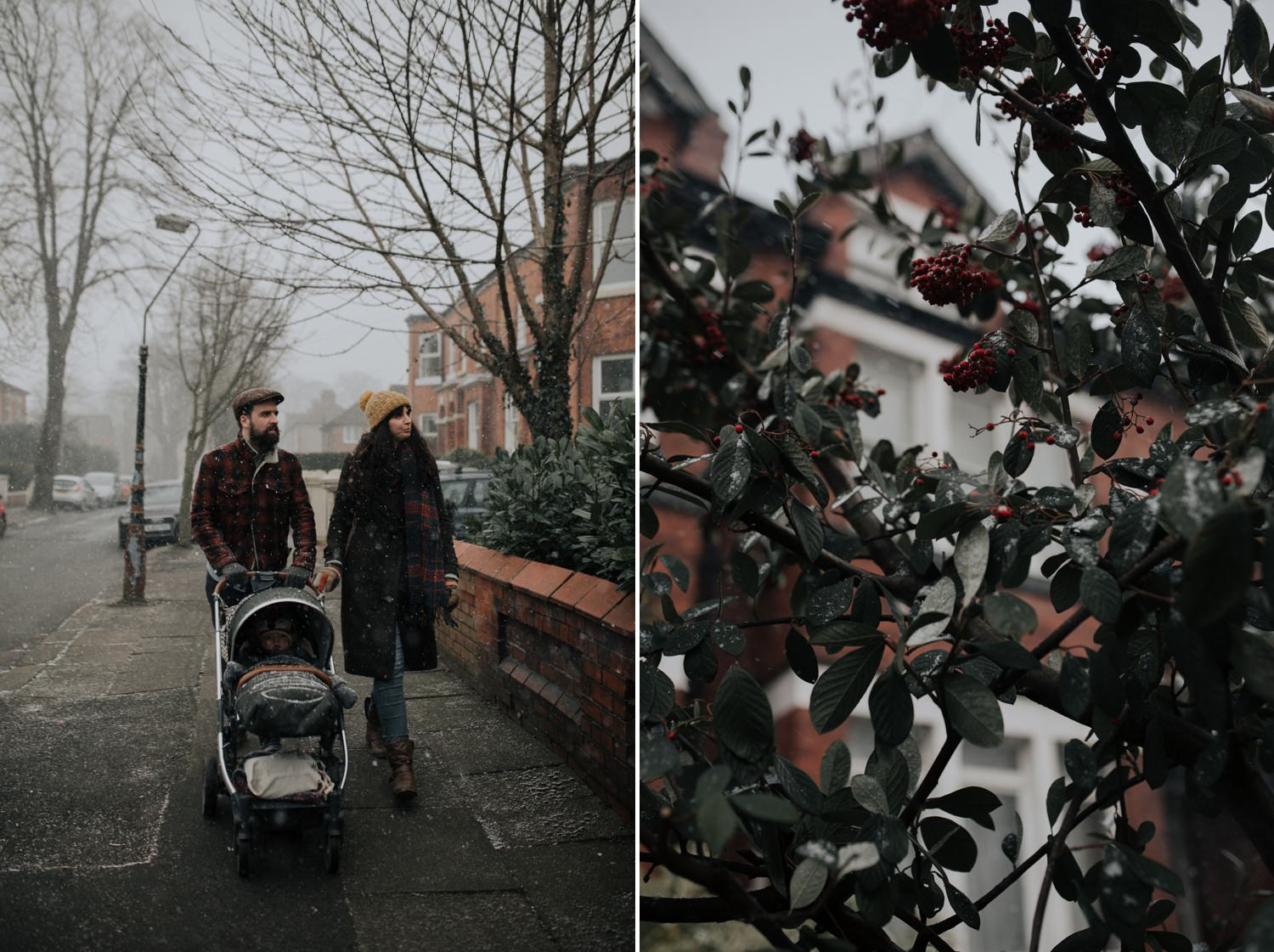 Family walking in the snowy streets of Chorlton in Manchester