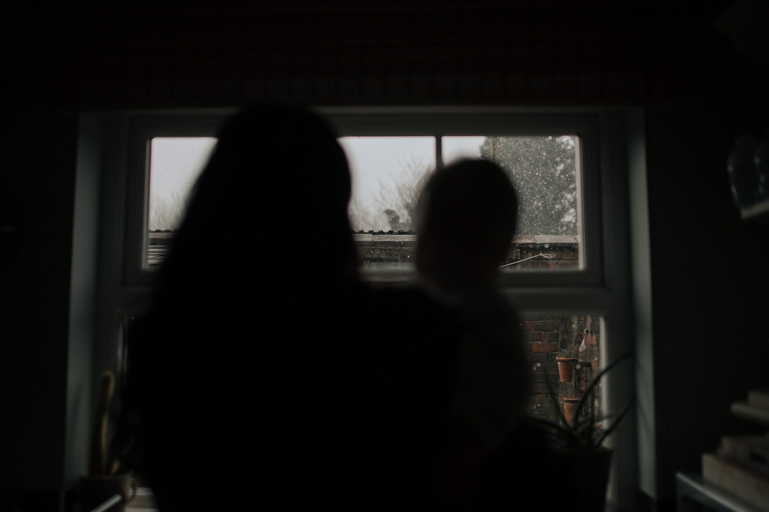 Watching the snow falling in the garden